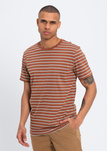 Herren T-Shirt gestreift aus weicher Baumwolle (Bio)   T-Shirt CACAO - recolution