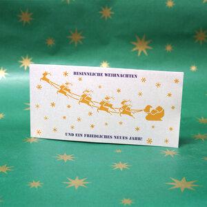 'Rentiere' Klappkarte DIN lang mit Weihnachtsmotiv  - shop handgedruckt