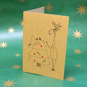 'Oh du Fröhliche ...' Klappkarte DIN A6 mit Weihnachtsmotiv  - shop handgedruckt