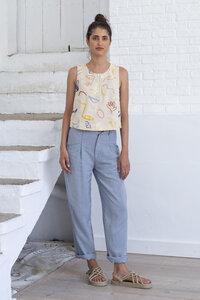 Stoffhose aus Tencel und Leinen - Lindi Pants Stripes - Blau - Suite 13