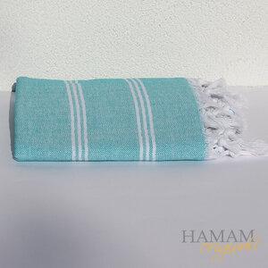 Hamamtuch Ibiza in Türkis mit einem schönen Fischgrät Muster.  - Hamam Originals