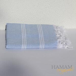 Hamamtuch Ibiza in Hellblau mit einem schönen Fischgrät Muster.  - Hamam Originals