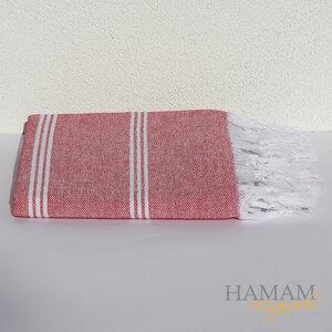 Hamamtuch Ibiza in Rot mit einem schönen Fischgrät Muster.  - Hamam Originals