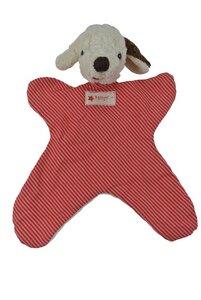 Schmusetuch Hund rot/gestreift 26cm - Kallisto