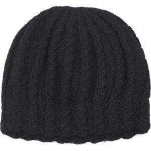Mütze Zopf-Muster Schwarz - Anukoo