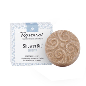 ShowerBit - festes Duschgel Sensitiv - 60g - Rosenrot Naturkosmetik