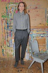 Wollhose Grau mit Paspeltaschen in Karo - käufer (d) sein ALL UPCYCLED