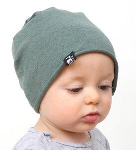 Baby-Mütze - grün meliert - Lena Schokolade