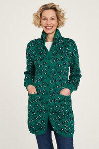 Strickjacke aus Biobaumwolle mit Muster in Blau und Grün - TRANQUILLO