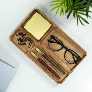 Stiftablage aus Massivholz, Eiche oder Walnuss, Stift Organizer, Schreibtisch Organizer, Stiftehalter - JUNGHOLZ Design
