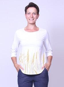 Bio-Damen-3/4 Arm Shirt- Gräservielfalt - Peaces.bio - handbedruckte Biokleidung