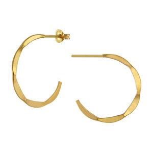 Große Creolen Ohrringe mit Struktur - 925er Sterling Silber - Silber/Gold - LUXAA®