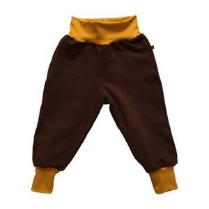 Kinder Sweatpants braun mit senfgelben Bündchen - bingabonga