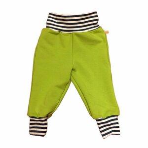 Kinder Sweatpants lime mit petrol/weiss gestreiften Bündchen - bingabonga