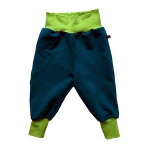 Kinder Sweatpants petrol mit kiwigrünen Bündchen - bingabonga