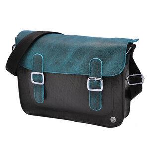 Cartera de Luxe - Satchel Tasche aus LKW Schlauch und Öko Leder - blau - MoreThanHip