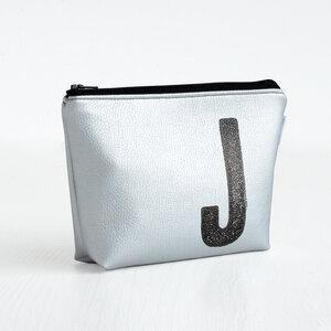 Kosmetiktasche personalisiert mit Monogramm (silber) - renna deluxe