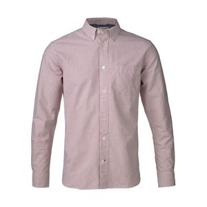 Button Down Oxford Shirt Striped - Pompeian Red - KnowledgeCotton Apparel