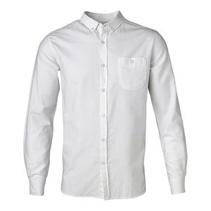 Button Down Oxford Shirt - Bright White - KnowledgeCotton Apparel