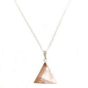 Rosenquarz Dreieck - Halskette, vergoldet - Crystal and Sage