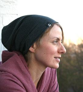 Beanie-Mütze - anthrazit meliert - Lena Schokolade