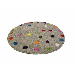 Sitzkissen 'Spotty' aus Filz mit bunten Tupfen (Durchmesser ca. 35 cm) - Frida Feeling