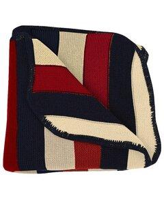 Baby Decke gestrickt Merinowolle rot/blau/natur 90x90 Bio - Popolini