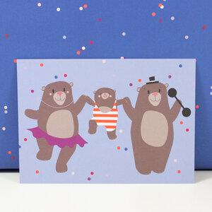 Postkarte Bärenfamilie - Bow & Hummingbird