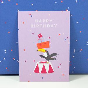Postkarte Happy Birthday Toucan - Bow & Hummingbird