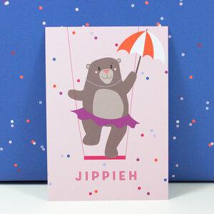 Postkarte Jippieh - Bow & Hummingbird