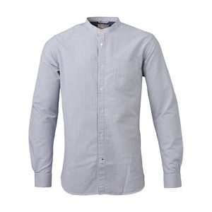 Stand Collar Striped Shirt  - KnowledgeCotton Apparel
