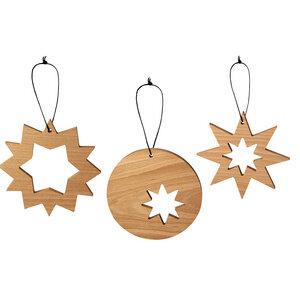 Holzsterne aus Buche 3er Set, Natur geölt, Deko-Sterne zum Basteln - NATUREHOME