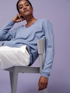 Pullover mit V-Ausschnitt aus Bio-Schurwolle mit Yakwolle - LANIUS