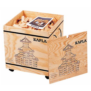 Kapla-Hölzer 1000 Stück in Holzkiste mit Rollen - Kapla