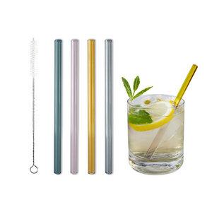 Glastrinkhalm bunt 15 cm lang, 4 Stück auf Geschenkkarte, mit Reinigungsbürste - Contento
