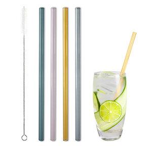 Glastrinkhalm bunt 21 cm lang, 4 Stück auf Geschenkkarte, mit Reinigungsbürste - Contento