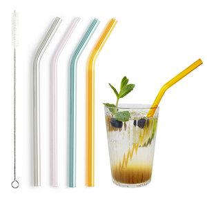 Glastrinkhalm bunt 21 cm lang, gebogen, 4 Stück auf Geschenkkarte, mit Reinigungsbürste - Contento