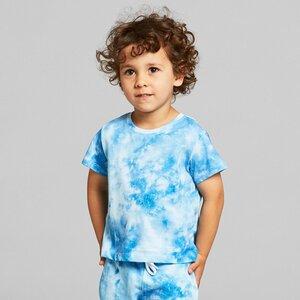 Kinder T-Shirt Lillehammer aus Biobaumwolle - Batik Blau Weiß - DEDICATED