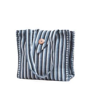 kleine Einkaufstasche - Schwarz/Grau gestreift - Frida Feeling