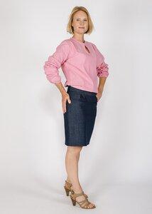 Bluse mit weiten Ärmeln und flachem Kragen - Green Size