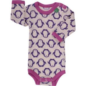 Woll-Body Pinguin langarm Violett GOTS - Fred's World by Green Cotton