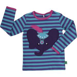 Elephant Stripe T Purple GOTS - Fred's World by Green Cotton