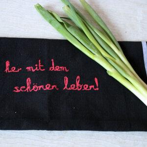 Fair-Trade-Geschirrtuch 'her mit dem schönen leben' schwarz - Hirschkind