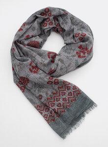 Schal 100% Bio Baumwolle – Blockdruck, stonewashed, grau mit roten Blüten 3224 - Djian Collection