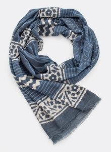 Schal 100% Bio Baumwolle – Blockdruck, Blautöne, 3222 - Djian Collection