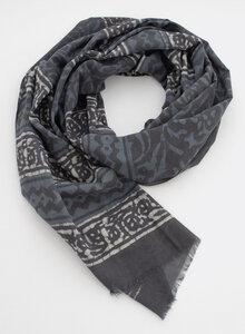 Schal 100% Bio Baumwolle – Blockdruck, Blaugrau, 3223 - Djian Collection