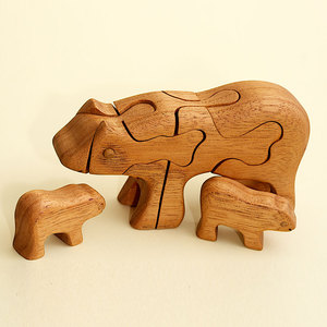 3D Holzpuzzle - Bär mit 2 jungen Bären - Ecowoods