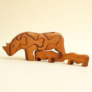 3D Holzpuzzle - Nashorn mit 2 Babys - Ecowoods