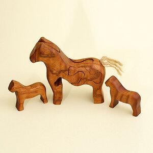 3D Holzpuzzle - Pferd mit 2 Fohlen - Ecowoods
