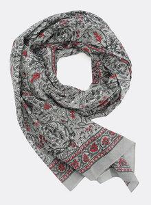 Großer Schal aus Bio-Baumwolle – grau und rot mit Blockdruck 3216 - Djian Collection